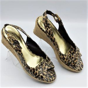 Franco Sarto Leopard Wedge Espadrilles Sandals 9